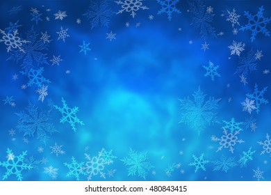 Winter frosty background. Snowflakes and depth of the night winter sky. Christmas. Snowfall. Snowstorm. New Year. Weather.