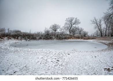 Winter frozen landscape in Russia