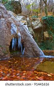 winter frozen waterfall