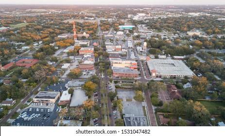 """Winter Garden, FL / USA 11-6-2017: Aerial view of downtown Winter Garden at sunset."""