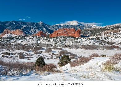 Winter at Garden of the Gods with Pikes Peak 2