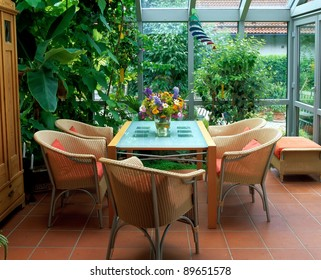 winter garden and wicker furniture