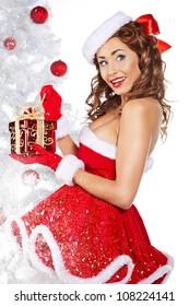 winter girl with christmas gift