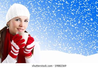 Winter Girl with cup of tea