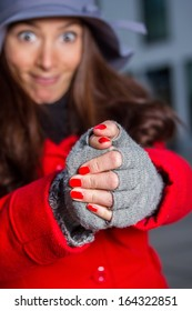 winter girl with gloves