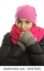 Winter girl portrait isolated on white background.