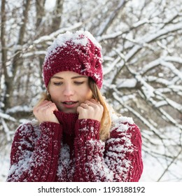 Winter girl in the snow, winter holidays, cold winter weather