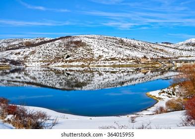Winter glimpse of Lake Campotosto in Italy