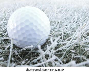 winter golf. ball on white frozen grass.