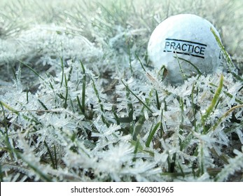 Winter golf range. Old ball with word practice on it lies on grass covered with frost or ice crystals. Macro focus on grass.