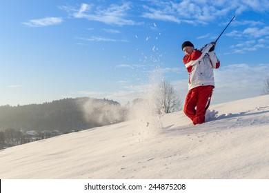winter golf in the snow