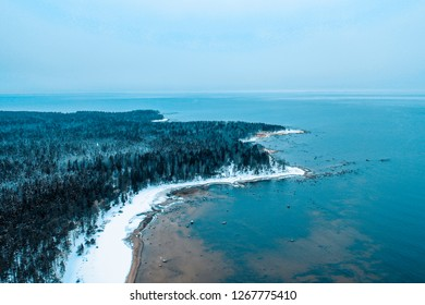 Winter gulf of Finland drone view