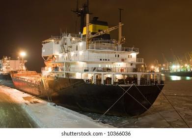 winter harbor at night