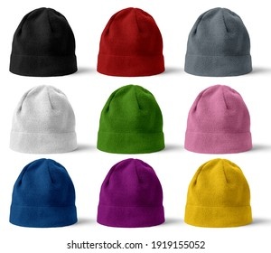 Winter hat of different colors on white background.