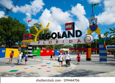 WINTER HAVEN, FL - June 18, 2014: Visitors pass through the entrance to Legoland Florida in Winter Haven, FL, on June 18, 2014.