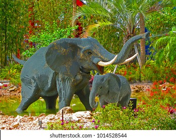 WINTER HAVEN, FL - MARCH 24, 2012: An elephant family constructed out of Lego bricks on display at Legoland Florida.