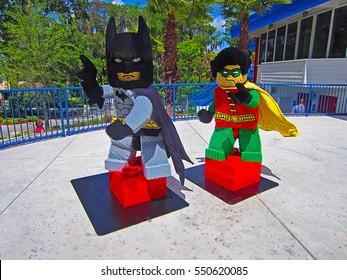 WINTER HAVEN, FL - MARCH 24, 2012: A Batman and Robin display at Legoland Florida.