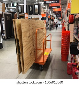 WINTER HAVEN, FL/USA - SEPT 2019: Early preparations for Hurricane Season allow residents to prepare before the crowds hit local stores. This photo shows a Home Depot just a week prior to Dorian.