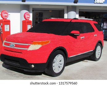 Winter Haven/USA - March 01 2014: A full size Ford SUV built from Lego pieces in Legoland, Florida. Legoland Florida is a theme park in Winter Haven, Florida.