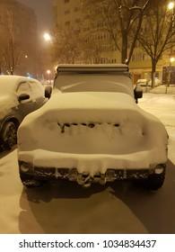 Winter and heavy snow in Bucharest, capital of Romania. 27 February 2018.. Bucharest, Romania.