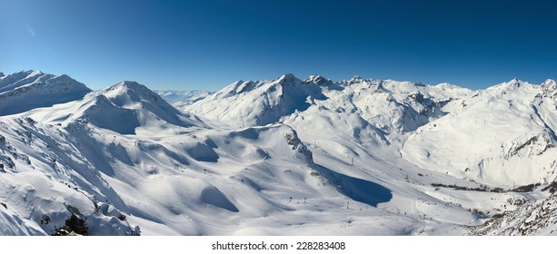Winter high mountains panorama, Alps, France