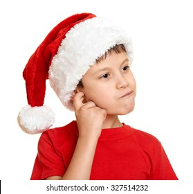 54af862c4b4 winter holiday christmas concept - boy in santa hat portrait on white  isolated