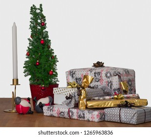 Winter holiday gifts and decorations on a table