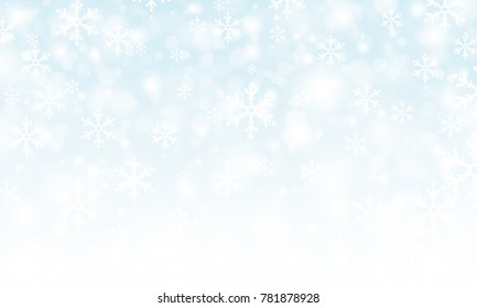 Winter holiday snow background, Christmas and new year abstract backdrop with snowflakes, Abstract bokeh and snowflake background