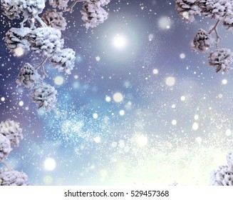 Winter Holiday Snow Background. Snowflakes. Beautiful Christmas and New Year abstract Blue Backdrop with snow