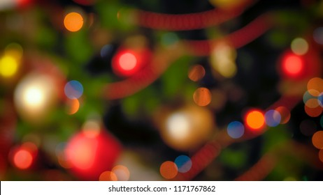 Winter holidays background with Christmas lights bokeh