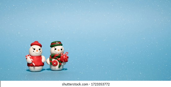 Winter Holidays background with a snowman, Gifts, snow and snowflakes