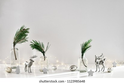 Winter holidays home decor concept, font view, blank space for a text