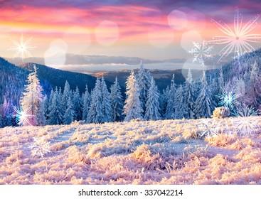 Winter holidays postcard stylization. Beautiful winter sunrise in the mountains.