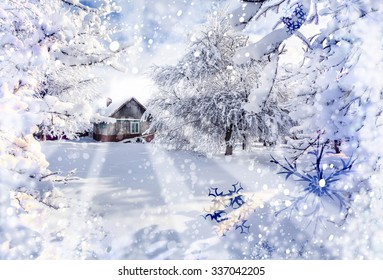 Winter holidays postcard stylization. Winter fairytale, heavy snowfall covered the trees and houses in the mountain village.