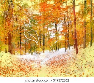 Winter holidays postcard stylization. First snow in the forest