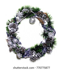 Winter holidays template card with copyspace isolated on white background. Wreath and garlands of natural silvery fir cones. Concept frame for shops label circle place for best price.