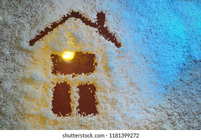 Winter home from coconut flakes in night time