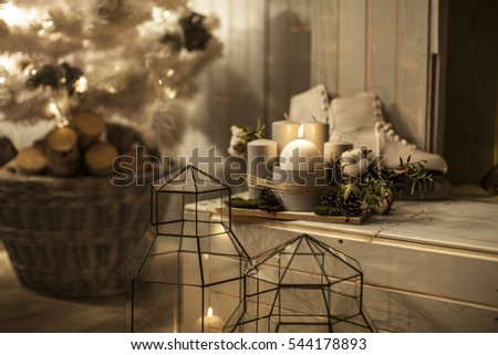 Winter Home Decor Christmas Rustic Interior Stock Photo Edit Now
