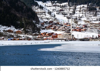 Winter House, Lake, Trabzon Background