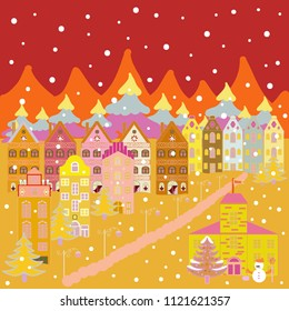 Winter houses for Christmas and Christmas fabrics packaging paper and decor on yellow, red and orange colors.