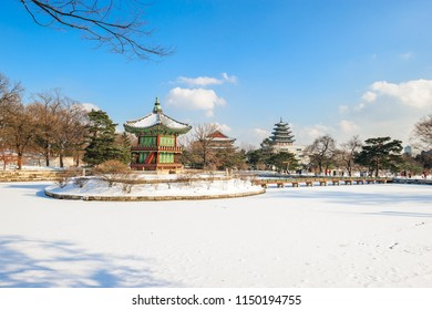 winter Hyangwonjeong Pavilion at Gyeongbokgung Palace in Seoul, South Korea.