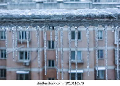Winter ice in front of the window