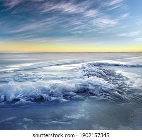 Winter ice landscape. Nature composition.