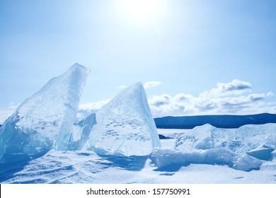 Winter ice landscape on  lake Baikal