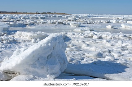 Winter ice at Paine's Creek, Brewster, Massachusetts, USA on Cape Cod