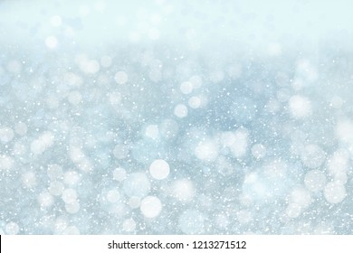 Winter icy background with snow and blur abstract lights, copy space
