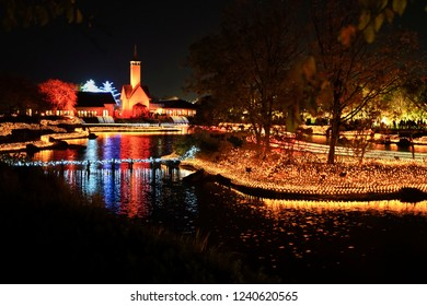 Winter Illumination event show at night in Nabana no Sato garden, Mie,Japan.