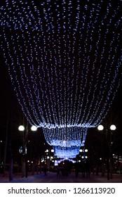 Winter Illumination lights in Gomel, Belarus at night
