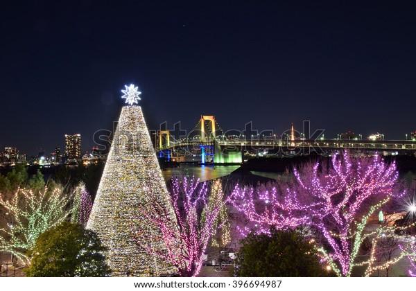 Winter Illumination & musical show in Tokyo, Japan.