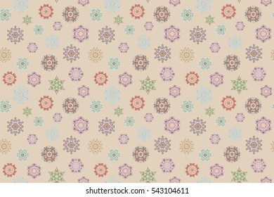 Winter illustration in beige colors. Hand drawn abstract snowflakes seamless. Template for cover, poster, t-shirt or fabric.
